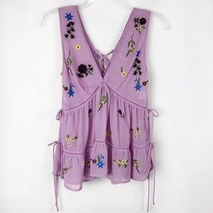 ASOS Babydoll Embroidered Tie Tank